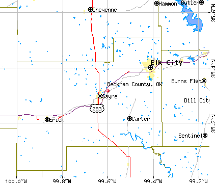 Beckham County, OK map