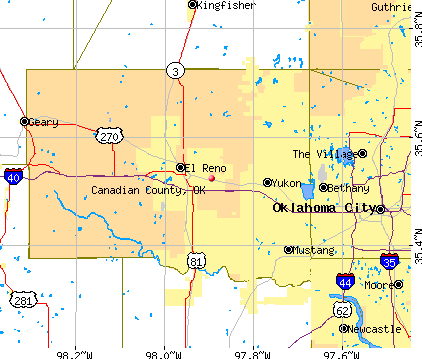 Canadian County, OK map