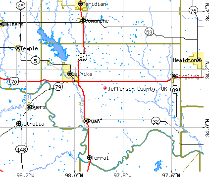 Jefferson County, OK map