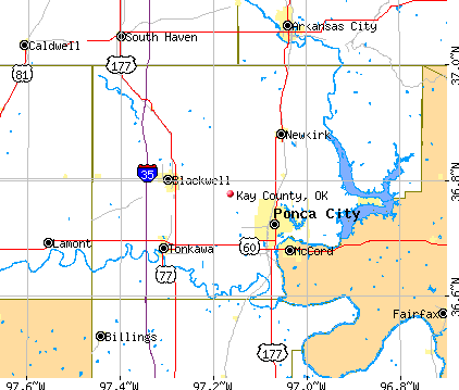 Kay County, OK map
