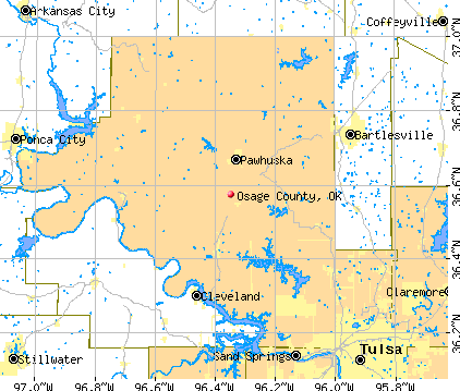 Osage County, OK map
