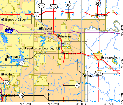 Pottawatomie County Oklahoma Detailed Profile Houses Real - Oklahoma county map