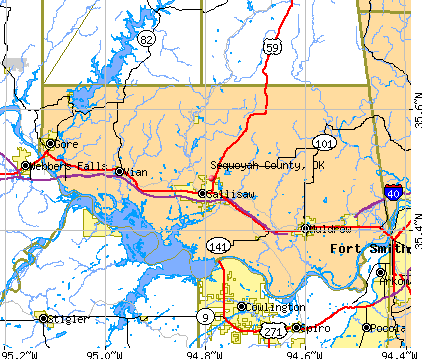 Sequoyah County, OK map