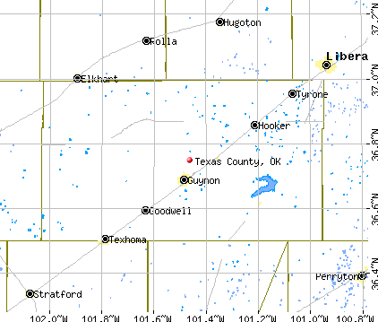 Texas County, OK map