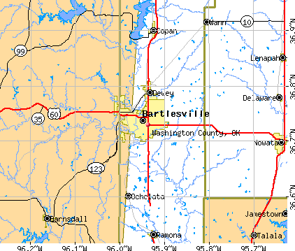 Washington County, OK map