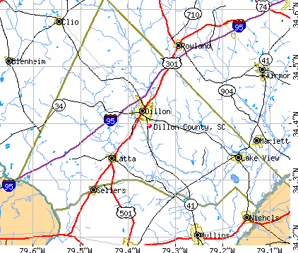 Dillon County, SC map