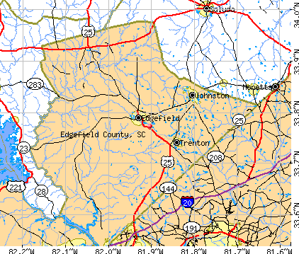Edgefield County, SC map