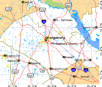 Orangeburg County, SC map