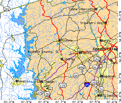 Pickens County, SC map