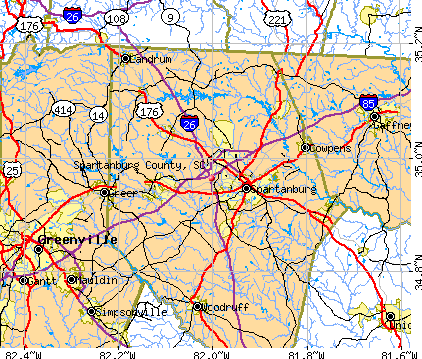 Spartanburg County, SC map