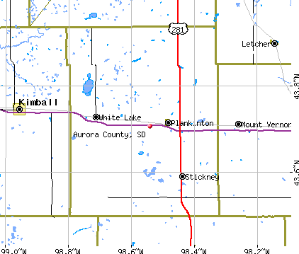 Aurora County, SD map