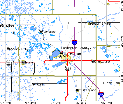 Codington County, SD map