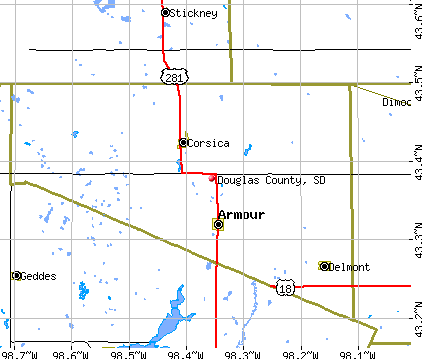 Douglas County, SD map