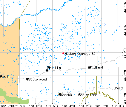 Haakon County, SD map