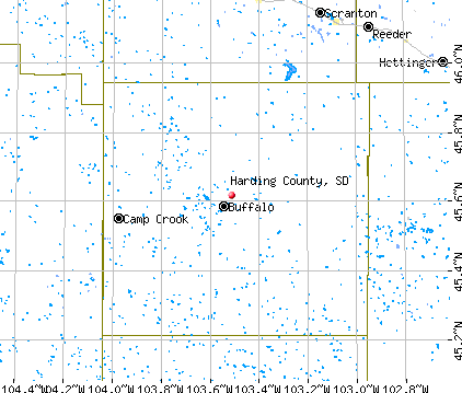 Harding County, SD map