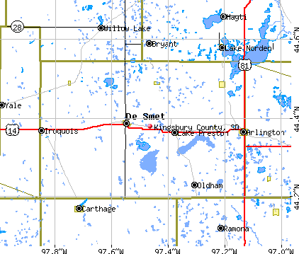 Kingsbury County, SD map