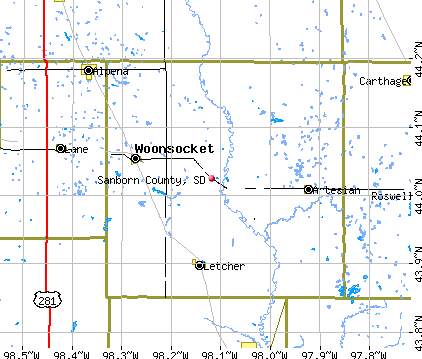 Sanborn County, SD map