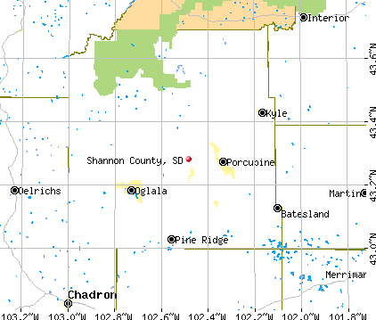 Shannon County, SD map