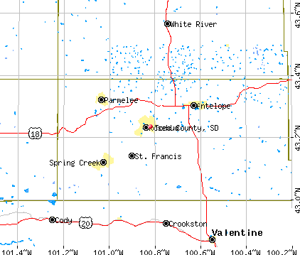 Todd County, SD map