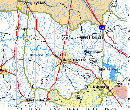 Bedford County, TN map