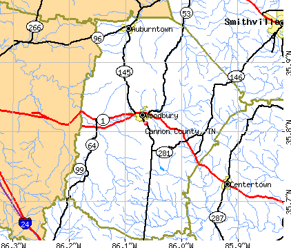 Cannon County, TN map