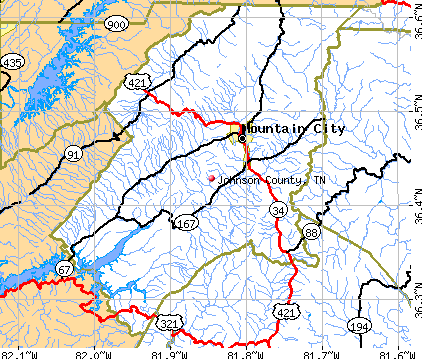 Johnson County, TN map