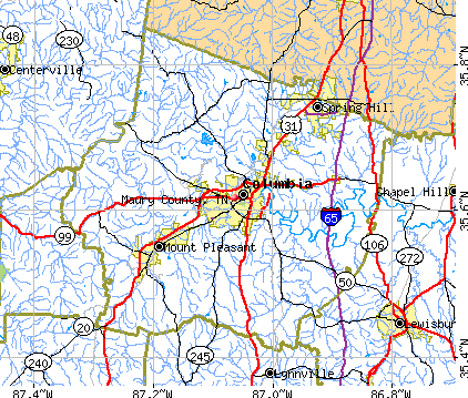 Maury County, TN map