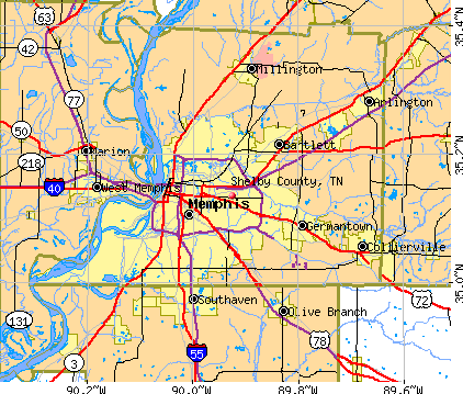 Shelby County, TN map