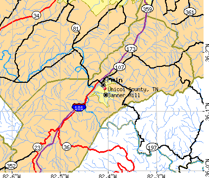 Unicoi County, TN map