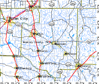 Weakley County, TN map