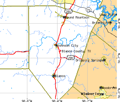 Blanco County, TX map