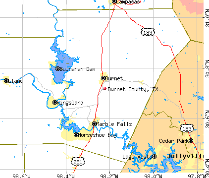 Burnet County, TX map