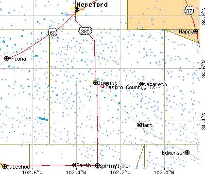 Castro County, TX map