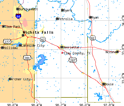 Clay County, TX map