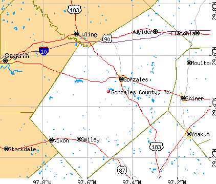 Gonzales County, TX map