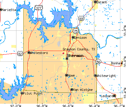 Grayson County, TX map