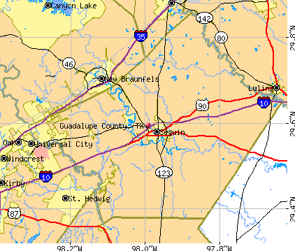 Guadalupe County, TX map