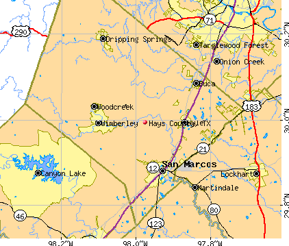 Hays County, TX map