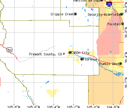 Fremont County, CO map