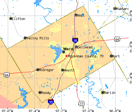 McLennan County, TX map