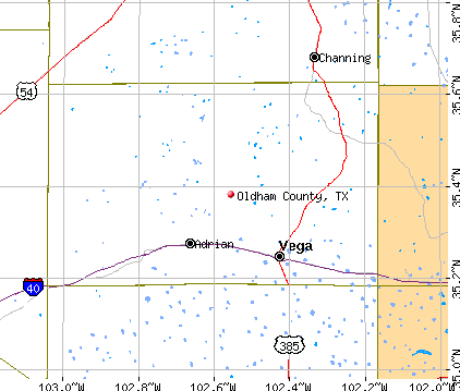Oldham County, TX map