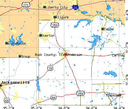 Rusk County, TX map