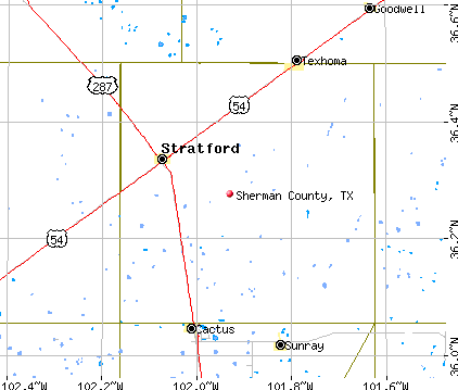 Sherman County, TX map