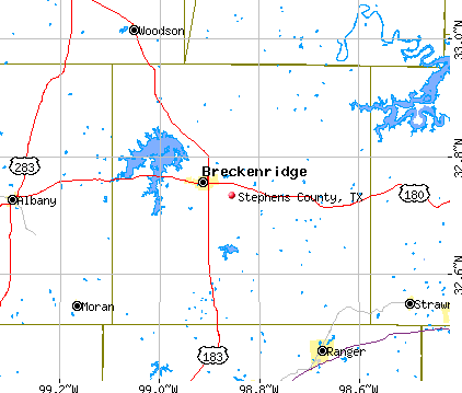 Stephens County, TX map