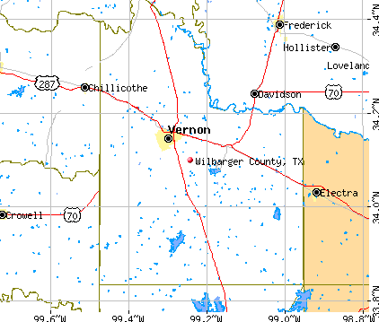 Wilbarger County, TX map