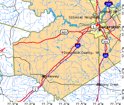 Dinwiddie County, VA map