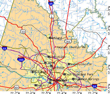 Hanover County, VA map
