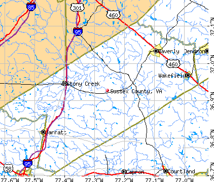 Sussex County, VA map