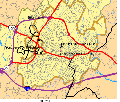 Charlottesville city, VA map