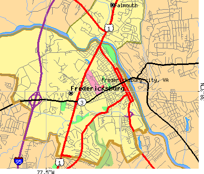 Fredericksburg city, VA map